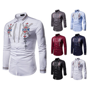 Men Blouse Long Sleeve White Royal Style Turn Down Collar Embroidered Luxury Printed Design Formal Business Dress Shirt Wedding 5 Colors