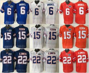 NCAA Florida Gators Faculdade 15 Tim Tebow Jersey Homens 22 Emmitt Smith 6 Jeff Driskel Camisas De Futebol Universidade Bordado Azul Laranja Branco