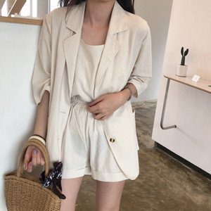 3 Piece Sets Women 3 4 Sleeve Notched Blazer Suits Camis Wide Leg Shorts Blazers Female 2020 Summer Solid Office Lady Casual Set T200701