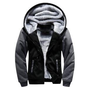 Shionfa Patchwork Fleece Men's Hoodie Winter Thick Sweatshirts Casual Hooded Cardigan Fashion Bomber Fur Jackets Zipper Coat 5xl Y200704