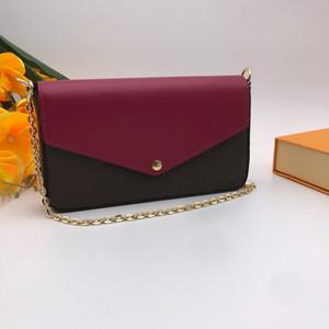 3 Set de couverture en cuir pochette Femmes Sacs à bandoulière à la chaîne de la femme 3-in multiples multiples intérieurs Zipper à glissière de carte à glissière de carte de crédit
