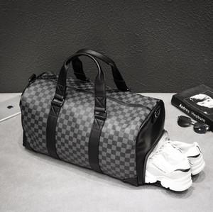 방수 마모에 강한 가죽 탑승 수하물 야외 도매 남성 핸드백 새로운 체크 여행 가방 다기능 가죽 운반용 가방