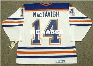 Homens # 14 CRAIG MacTAVISH Edmonton Oilers 1987 CCM Vintage RETRO Home Hóquei Jersey ou personalizado qualquer nome ou número retro Jersey