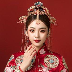 Chinese WeHeaddress Tranditional Hochzeit Crown-Haar-Kamm-Haarnadeln Set Brides Costoume Haarschmuck Blumenstirnbänder