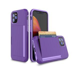 Armure de luxe fente pour carte Faites glisser portefeuille téléphone cellulaire mobile Coques pour iPhone 11 Max MOTO G8Plus