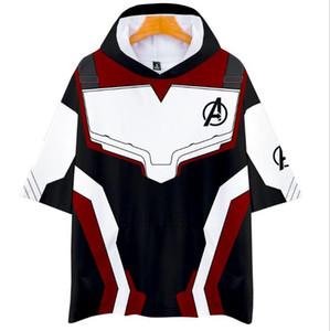 Novos Avengers endgame 4 guerra quântica 3D impressão digital com capuz de manga curta com capuz T-shirt das mulheres dos homens camisa polo menino menina t-shirt Bat # 66