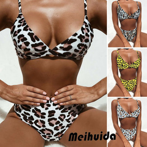 Womens Strand-Art-Sleeveless Leopard-Druck mit hoher Taille Bikini Set Push-up-BH Padded 2Pcs Sommer Badeanzug-Badebekleidung