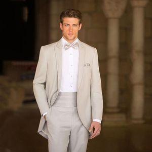 New Italian Wedding Beige Mens Suits Frac Groom Porter Smokings Slim Fit Epoux Costumes Terno Costume Homme 2Pcs Veste Pantalon 9