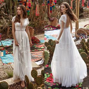 Asaf Dadush 2020 manica corta Abiti da sposa con scollo a V in pizzo Appliques in rilievo Boho Robes de mariée Custom Made abito da sposa Bohemian