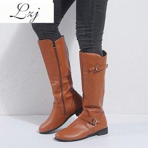 LZJ 2019 Autunno nuova delle donne stivali alti al ginocchio solido pelle tacco basso Scarpe Donna Casual Zipper Buckle Strap signore Calzature