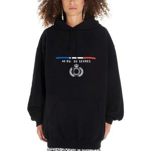 TOP 19FW Klasik Paris Bayrak Taç Nakış Kapşonlu Sweatshirt Erkekler Kadınlar Sokak Kazak Kapüşonlular Sonbahar Kış Triko Dış Giyim HFYMWY284