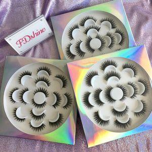 7 쌍은 / 꽃 트레이 정의와 트레이 자연 소프트 가짜 밍크 속눈썹 5D 가짜 밍크 속눈썹 FDshine 포장