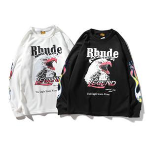 2020 mens maniche lunghe Rhude firmati e donne maglione di marca marea Europa e in America definire congiuntamente LA Los Angeles Fuoco Eagles spugna rotonda