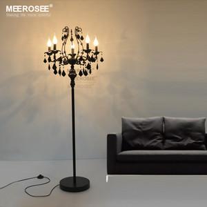 Vintage Nero 5 luci di cristallo Lampada da terra, Floor Stand per le lampade Cristal Luster de cristal Candelabri Lampada da terra Centrotavola