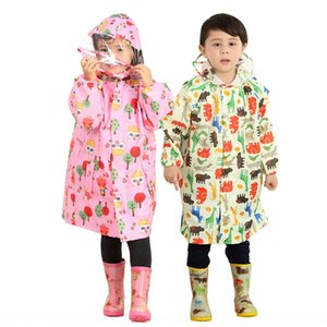 Raincoat Brim Girls Big Picture e Raincoat Boys Poncho Poncho Full Stud Students Baby with Schoolbag Bag Globo Cloak Chill's SWVWS