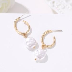 여성 여자 Errings 패션 성명 보석 선물 한국어 드롭 귀걸이 여성 유행 보헤미아 불규칙한 시뮬레이션 진주 드롭 귀걸이