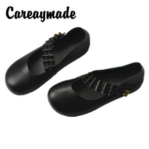 Careaymade-Hotsale,Small Bell genuine Leather Women's Shoes,Retro Artistic Mori Small Fresh Casual Soft Bottom Single Shoes