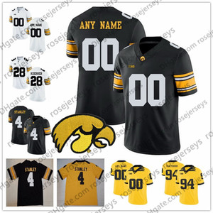 Personalizado Iowa Hawkeyes 2019 Fútbol cualquier nombre Nombre Blanco Negro Amarillo # 4 Nate Stanley Fant Kittle King Stanzi Epenesa Sargent Jewell Jersey