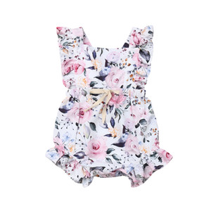Yaz Yenidoğan Çocuklar Bebek Kız Giysileri Kolsuz Çiçek Romper Kıyafetler Set