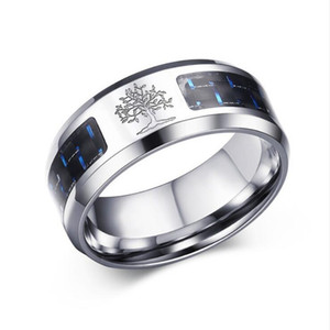 designer jewelry stainless Steel rings Vnox 8mm Carbon Fiber Ring engraved Tree Of Life For Man rings