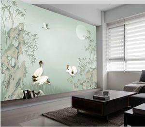 Neue 3D-Landschaft Wallpaper neuen chinesischen Stil von Hand bemalt Stein Bambus Tapeten schönen Hintergrund Wand