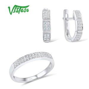 Kadın Beyaz Taşlı Taşlar Takı Seti Küpe Yüzük 925 Gümüş Moda İnce ve Vistoso Takı Setleri