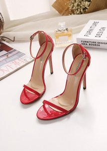 Stiletto, one-word open-toe sandals, women 2018 summer hollow-out women shoes trade new European and American plus-size high heels cs10