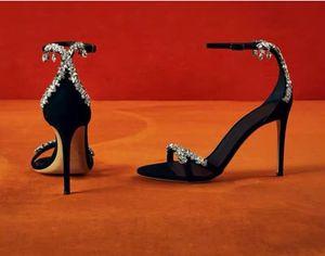 Mujeres del diseñador Negro zapatos de las sandalias Sexy Negro con cierre de tiras alto de la mujer zapatos sandalias de tacón de la boda viene con la caja