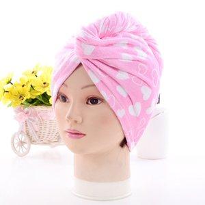 Gorros de ducha para la magia de secado rápido de la microfibra de pelo secado con la toalla turbante Wrap Sombrero Caps Caps Spa Baño de EEA1337-4