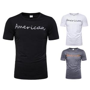 태양열 집열기 둥근 목 짧은 소매 망 정상 유행 우연한 망 티 미국 편지 인쇄 망 Tshirts 여름