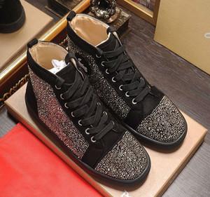 Original Modedesigner Mensschuhe hohe Qualität flache Boden hohe rote Schuhe der beiläufigen Männer und Frauen Niete Freizeitschuhe Größe 35-46