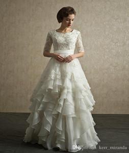 Chegada Nova Modest casamento do laço vestidos de decote colher frisada de cristal Piso Comprimento A-Line meia manga organza Ruffled vestidos de noiva DH182