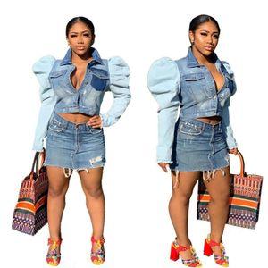 Blue Light Women Denim Giacche il nuovo disegno a mosaico Ruffls Puffy maniche lunghe Abbassare collo Bottoni cappotti alla moda tasche