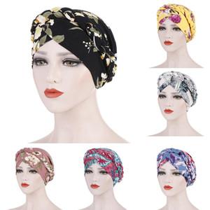 Female Floral Print Head Wrap Cap Casual Hats Women Floral Braid India Hat Muslim Ruffle Cancer Chemo Beanie Turban Wrap Cap