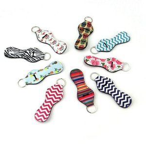 Neoprene Keychain Sports Printed Chapstick Holder Leopard Keychian Wrap Lip Cover Party Favor Christmas Gift 56 Designs Free Shipping