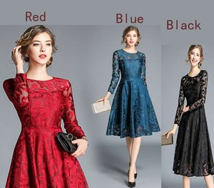 New long sleeve slim dress Lace dress