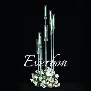 Metal Candelabra Candle Holders Acrílico da tabela do casamento Centerpieces suporte de flor Castiçal Candelabrum Para Casa Decor