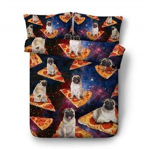 Bulldog Animal pizza 3D Patrón funda nórdica con una funda de almohada de cama Galaxy 3 piezas Set, cubierta del edredón de microfibra, cierre de cremallera, sin cobertores