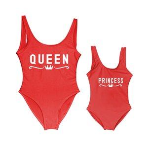 Swim da mãe e da filha Crianças QueenPrincess letra Posters One Piece Swimsuit MommyBabe Swimwear Mom Kid maiôs Bikini Crianças