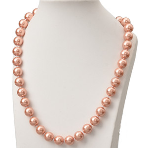 Wholesale Round Dark Orange Pearls Chain Necklace 10mm Size For Synthetic Pearls Charm Necklace 18inch Making Jewelry Gifts H834
