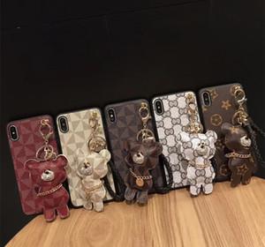 Casos Celular para iPhone X XR XS MAX 7 8 PLUS imitação de couro Mobile Phone caso com pingente 5 cores