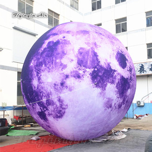Huge Lighting Inflatable Moon Planet Ball Personalized LED Satellite Purple Moon Model Balloon For Concert And Nightclub Decoration