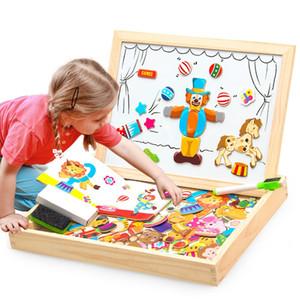 Manyetik Yapboz Tahtası Ahşap Eğitici Yazma Oyuncak Çocuk Çocuk Orman Hayvan Jigsaw Babys Çizim Şövale Kurulları GGA2795