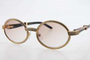 Atacado Moldura Completa pedras menores óculos 7550178 Preto chifre de búfalo óculos de sol redondos Vintage Óculos de Sol óculos Brown Len