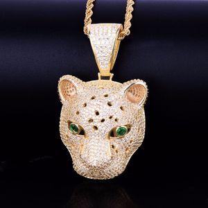 Лучший хип-хоп ювелирных изделий Leopard головы Подвеска Мужчины животных ожерелья Gold Rock Street Out ожерелье Ice с свободной цепью