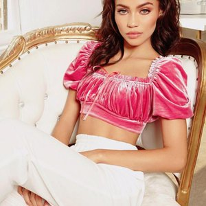 Shirt gola cor sólida T Shirt Womens Designer Cortar fita Top bonito posters Rosa and Crop Black Top Womens T Casual
