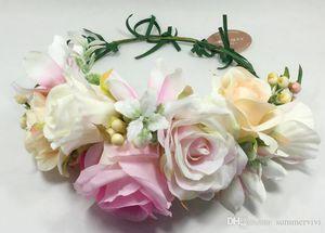 사용자 정의 어린이 꽃이 큰 시뮬레이션 꽃 소녀 리본 타이 공주 화환 아이 손 등나무 직조 헤어 밴드의 A485을 만든 왕관했다