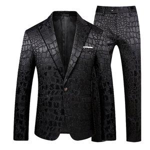 Classic Men's Business Suits 2020 New Male Jacquard Blazers Jacket and Pant Large Size 5XL Men Wedding Banquet Suit