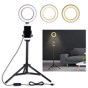 Selfie Ring Light avec support de téléphone portable de trépied pour flux en direct / maquillage, Mini Led Ringlight de caméra
