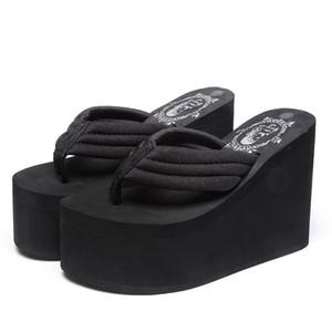 Femmes Talon Haut Plate-Forme Wedge Flip Flops Sandales Décontractées Pantoufles De Mode Pantoufles De Plage Filles Coins Sandale KS22